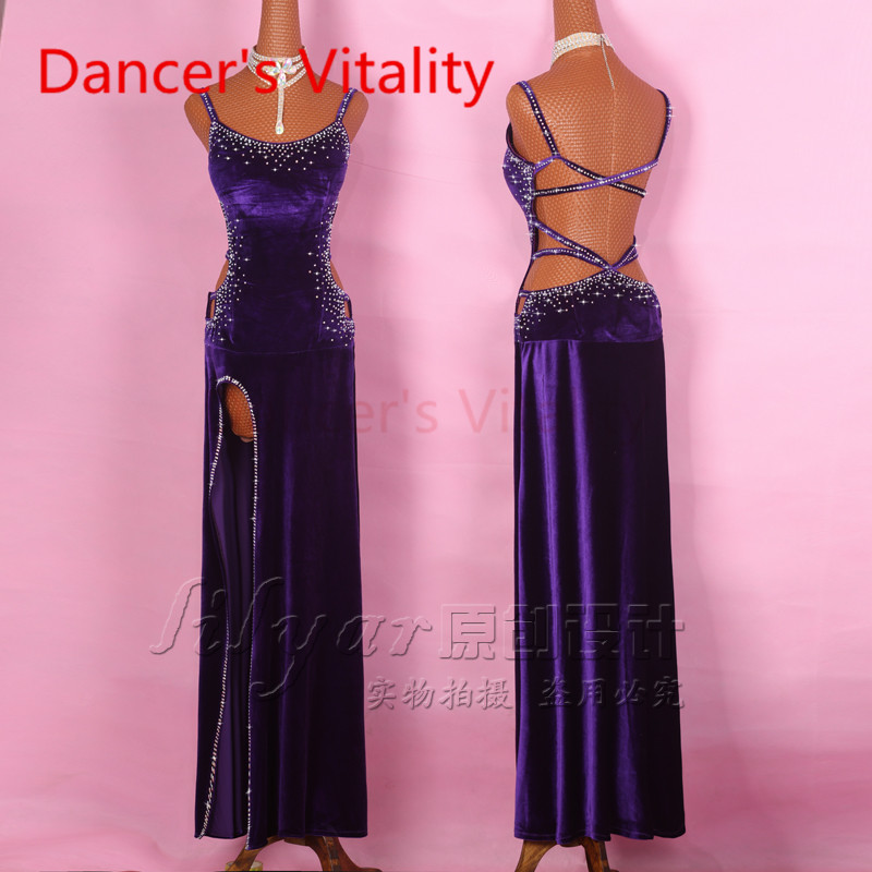 2017 Diamond Latin Dance Dress Women Harness Back Opening Salsa Tango Rumba Flamengo Ballroom Latin Dance Competition Costumes