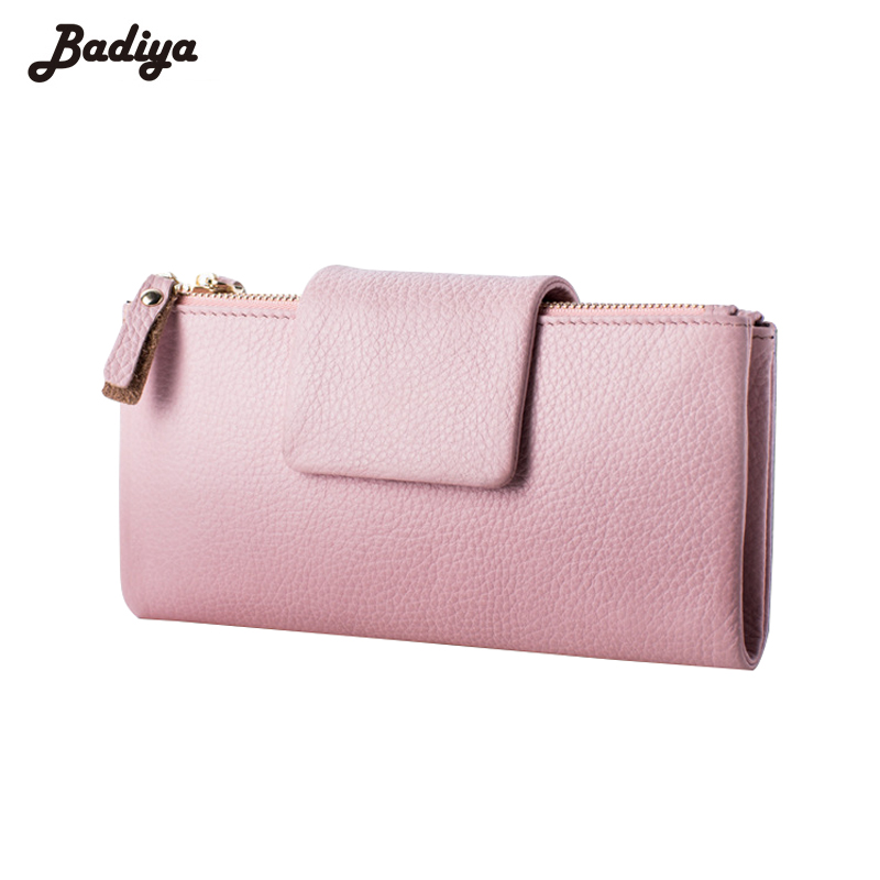 High Quality Genuine Leather Litchi Pattern Fashion Women Wallet Hasp Double Zipper Design Card Holder Purse With Phone Pocket guapabien casual bear pattern hasp design large storage wallet for women