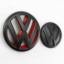 цена на 130mm Matt Black Red Front Grill Logo + 100mm Matt Black Rear Trunk Lid Emblem Badge Car Logo for Volkswagen Jetta MK6 2011-2014