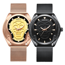 GIMTO Vintage 3D Skull Watch MEN Black Gold Man 2018 Wristwatch Mens Fashion Male Boy Quartz For Men Luxury Casual