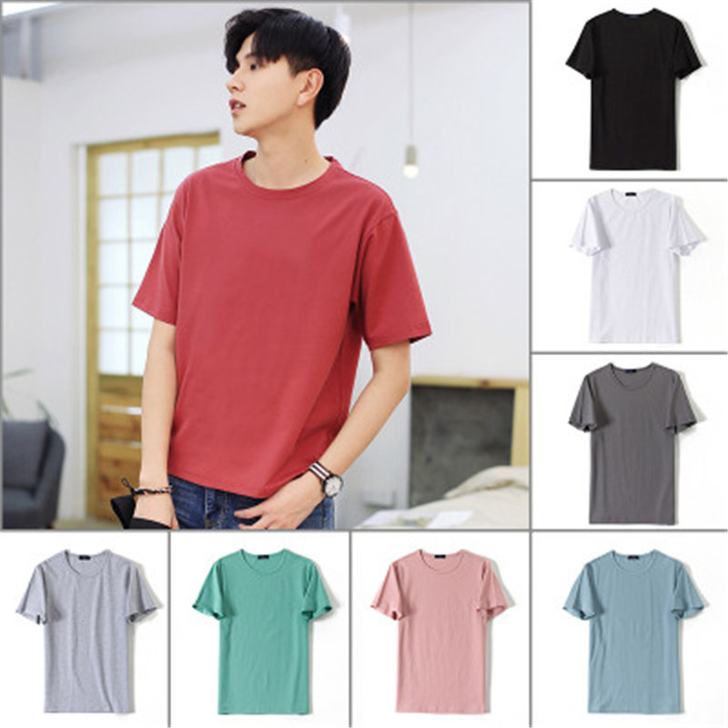 Casual Men's 2018 Summer New Men's Short Sleeve T-Shirt Round Neck Solid Color Half Sleeve Clothes Male  LXJ17