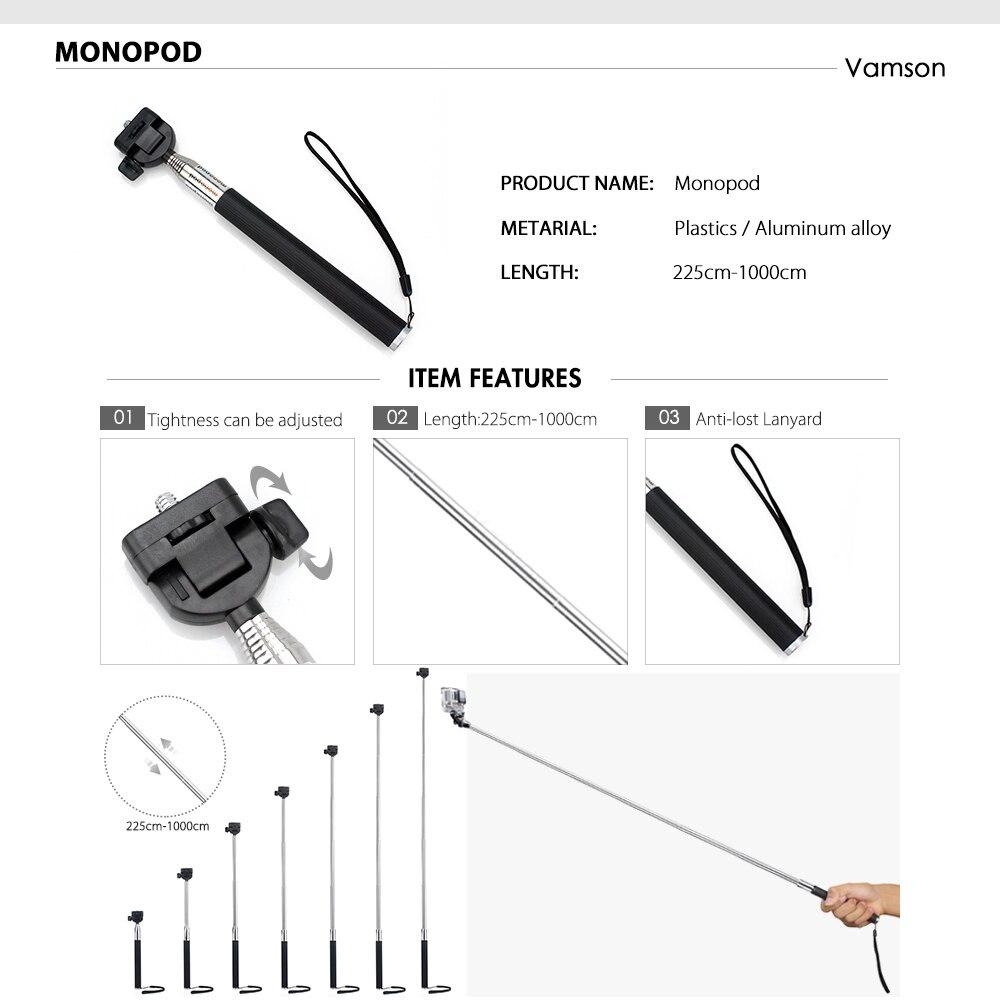 Vamson accesorios para Go Pro Set 3 vías montaje Base colección adaptador para Gopro Hero 6 5 4 3 + para Xiaomi Yi para SJ4000 VS119 - 2