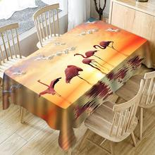 Flamingo Waterproof Tablecloth Sunset Glow Flying Bird 3D Print Rectangular Table Cloth Beach Decorative Table Cover for Home flamingo print table mat
