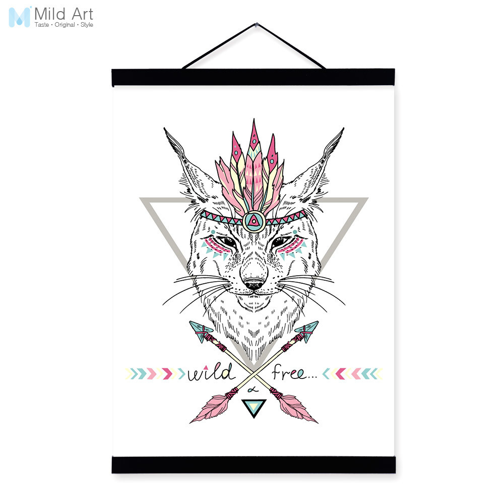 ∞Wolf Portrait Ancient Indian Animal Colorful Feather Graphic Wood ...