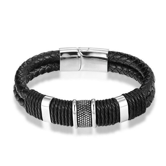 Фото мужские кожаные браслеты многослойные черные и коричневые из