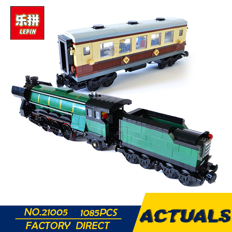 LEPIN 21005 1085Pcs Technic Series Emerald Night Train Model Building Kits Block Bricks Children compatible 10194 Toy