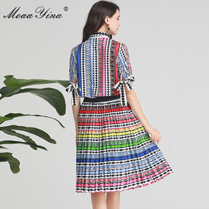 Image 5 - MoaaYina Fashion Designer Set Spring Summer Women Bow Short sleeve Stripe Print Indie Folk Shirt Tops+Skirt Two piece suit