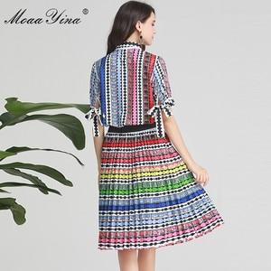Image 5 - MoaaYina ensemble de créateurs de mode printemps été femmes arc à manches courtes rayure imprimé Indie Folk chemise hauts + jupe deux pièces costume