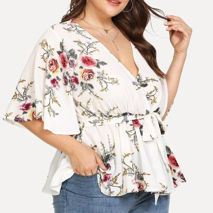 Womens Blouses And Shirts 2018 Summer Deep V-neck Floral Printed Tunic Shirt Bandage Large Size Tops Loose Blouse Camisa Women's Clothing