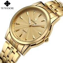 Top Brand Luxury Men Waterproof Stainless Steel Gold Watches Men's Quartz Clock Male Golden Wrist Watch WWOOR relogio masculino