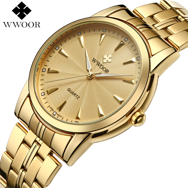 купить Top Brand Luxury Men Waterproof Stainless Steel Gold Watches Men's Quartz Clock Male Sports Wrist Watch WWOOR relogio masculino