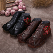 2016 Leisure literature and art flat heels soft-soled genuine leather boots handmade embroidered female comfortable women shoes