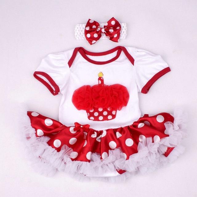 Bolo Meninas primeiro Aniversário Tutu Roupas de Bebê Roupas de Menina Vestido Romper + Headband Fantasia Infantil Baby-Roupas Infantis-roupas