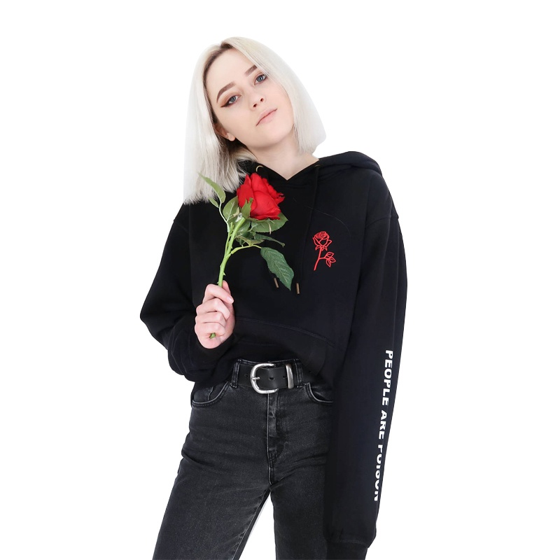 Women's Black Hoodie People Are A Poison Rose Long Sleeve Print Hoody Inspired Aesthetic Pale Pastel