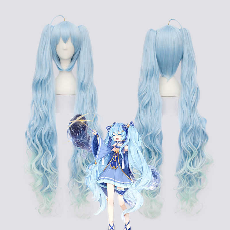"100cm/39"" VOCALOID SEASON women  Magical  Snow MIKU cosplay wig long gradient blue hair with ponytails"