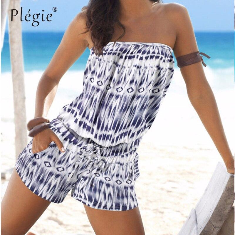 Plegie Summer Beach Playsuits 2018 One Piece Pants Shirt Trousers Women Jumpsuits Print Playsuit Jumpsuit Romper Shorts Bohemian