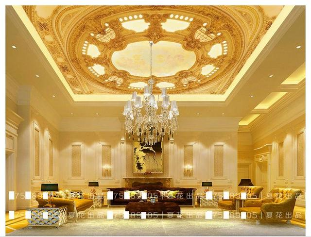 3d photo wallpaper 3d celing wallpaper mural golden 3d three dimensional luxury building ceiling frescoes