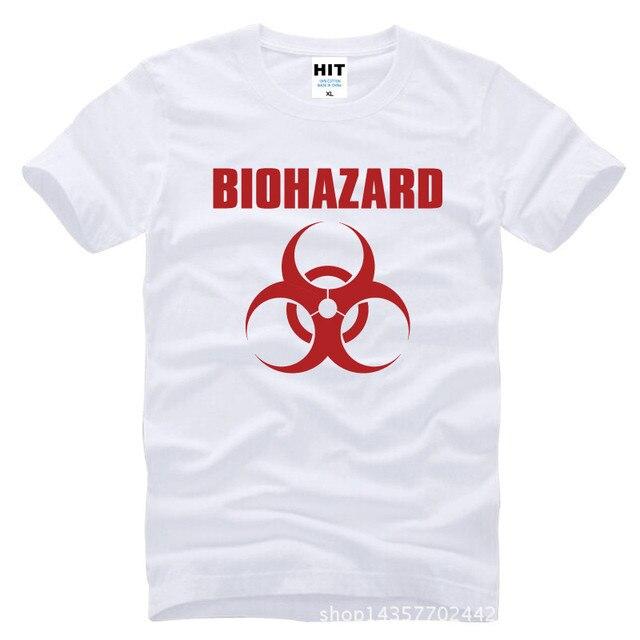 Обитель зла биологической логотип напечатан мужские мужская майка футболка мода 2015 новый с коротким рукавом хлопка тройник Camisetas хомбре