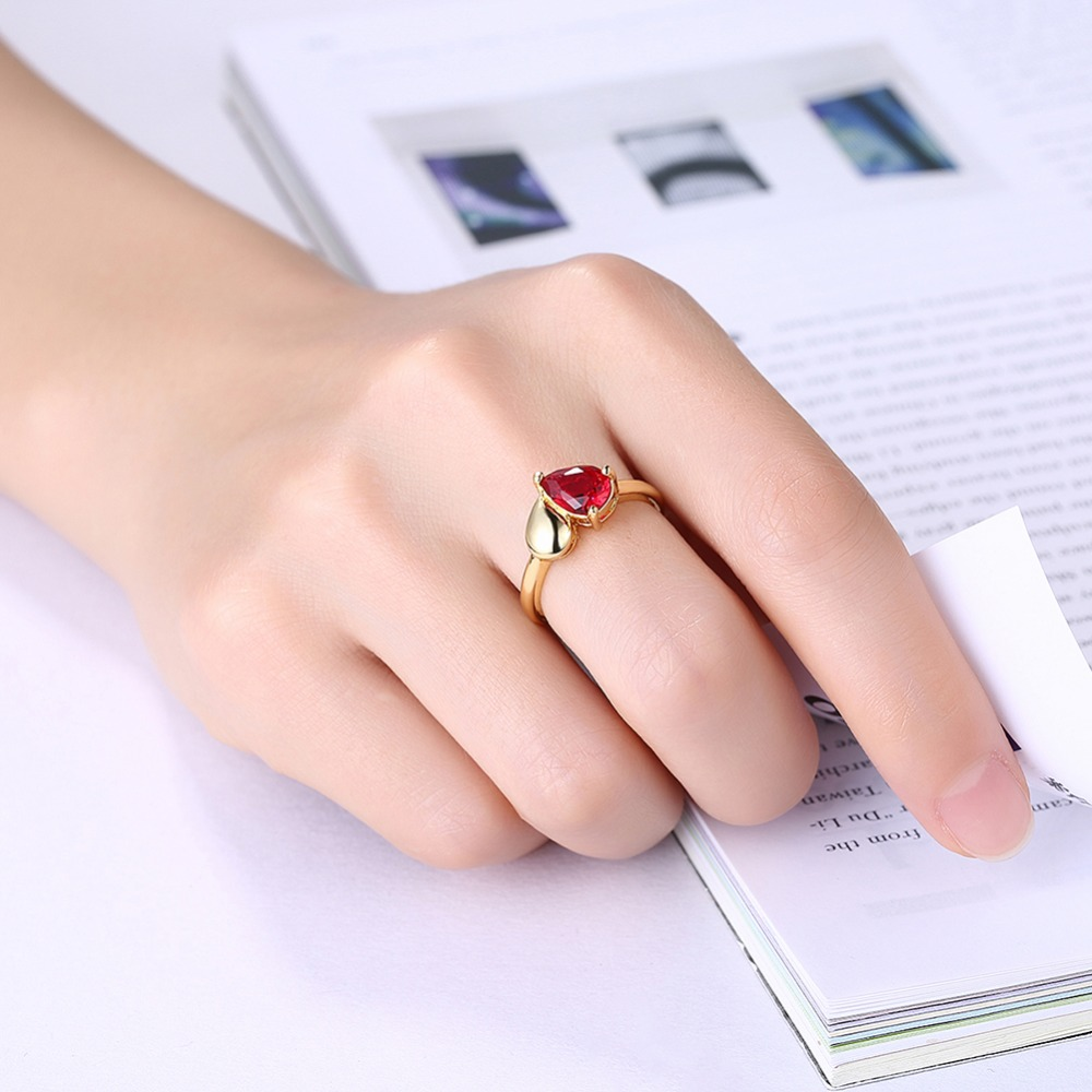 Seanuo Infinity love elegant red CZ stone women wedding rings ...