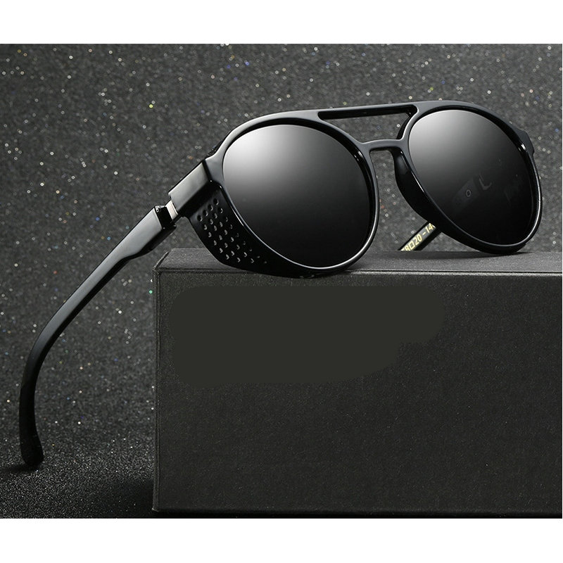 7a0db8f095 MINCL  2018 new hollow polarized lenses polarized sunglasses men punk  Gothic round metal glasses UV400 with box LXL