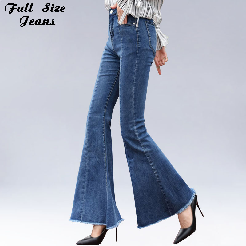 Plus Size Big Bell Bottom Long   Jeans   For Women 4Xl 6Xl Autumn Winter Wide Leg Tassel Fringe Stretch Skinny Flare   Jeans