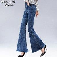 Plus Size Big Bell Bottom Long Jeans For Women 4Xl 6Xl Autumn Winter Wide Leg Tassel Fringe Stretch Skinny Flare Jeans