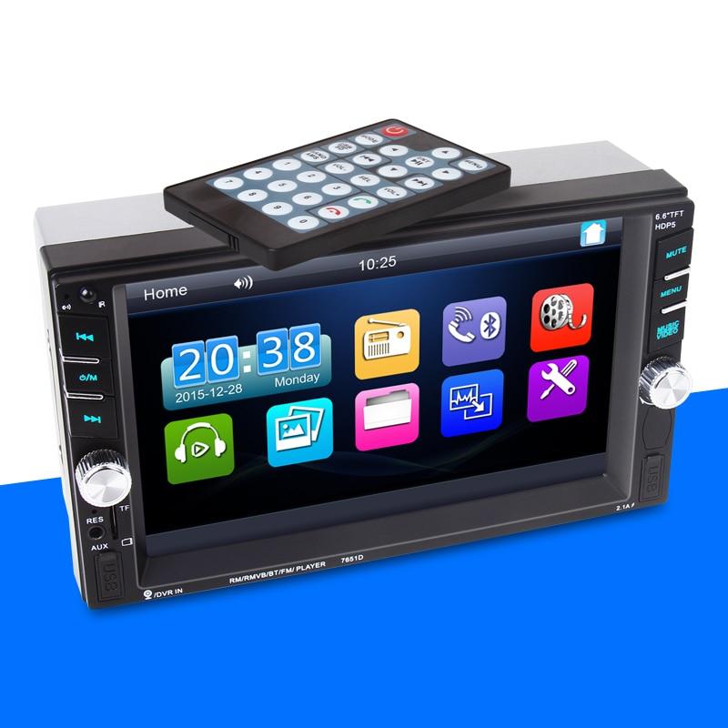 2 Din 7 pouces Bluetooth miroir lien pour Android télécommande voiture radio stéréo voiture MP5 lecteur arrière veiw caméra + DVR