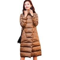 Двусторонний одежда белая утка вниз куртка Для женщин зимние пальто 2018 Новая модная Длинная Верхняя одежда Удобная Теплый пуховик Куртки