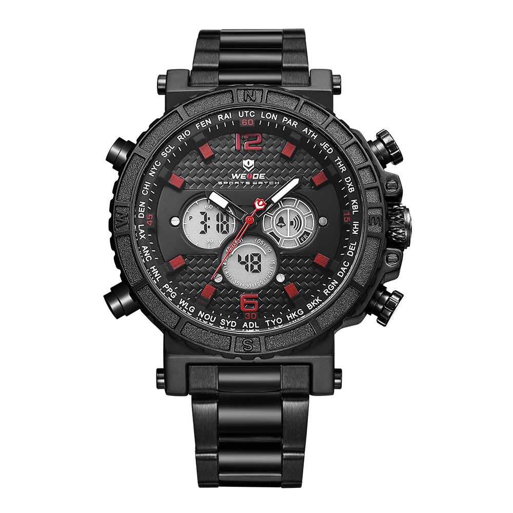 WEIDE Mens Sport Quartz Alarm Chronograph Back Light Date LCD Digital Analog Display Stainless Steel Band Black Red Wrist Watch weide new watch analog digital display outdoor men sport quartz movement military watch back light stainless steel band 6 colors
