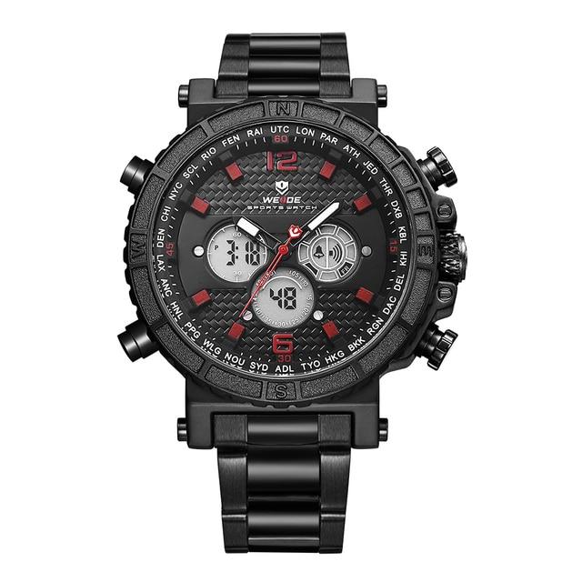 WEIDE Mens Sport Quartz Alarm Chronograph Back Light Date LCD Digital Analog Display Stainless Steel Band Black Red Wrist Watch