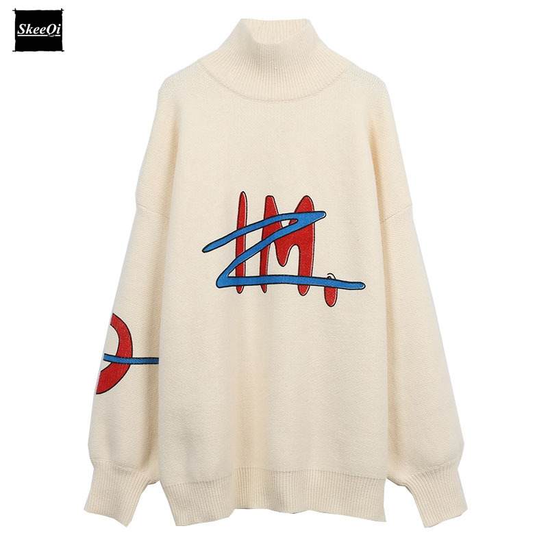 2018 New Fashion Sweater Female Pullovers Loose Winter Turtleneck Letter Knitted Sweaters Pullover Runway Designer Tops Jumper