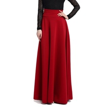 S M L 5XL New High Waist Pleat Elegant Skirt Wine Red Black Solid Color Long Skirts Women Faldas Saia Plus Size Ladies Jupe
