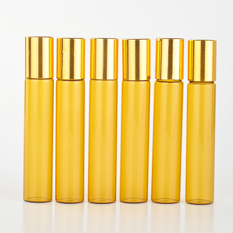 10 Pieces/Lot 10ML Portable Amber Glass Refillable Perfume Bottle With Roll On Empty Essential Oils Case For Traveler