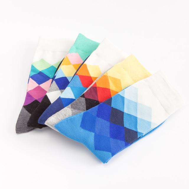 Jhouson 1 pair Classic Men's Combed Cotton Colorful Happy Funny Socks Diamond Geometric Pattern Causal Dress Business Socks 3