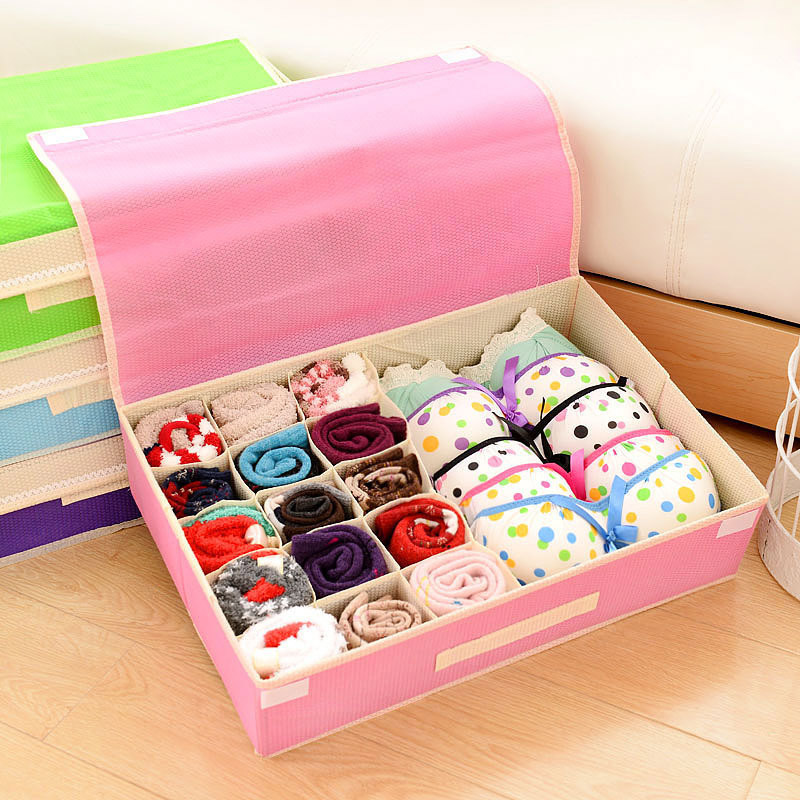 Underwear Bra Organizer Storage Box Drawer Closet Organizers Non-woven Covered Bra Combo Grid Wardrobes Organizers Underwears