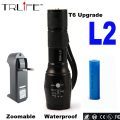 8000Lumens CREE XML L2 flashlight XML L2 torch Zoomable led Flashlight bike bicycle light +1* 18650 Battery+Charger