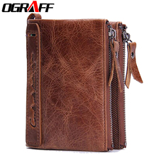 OGRAFF Brand men wallets dollar price purse Genuine leather wallet card holder designer clutch business mini wallet high quality
