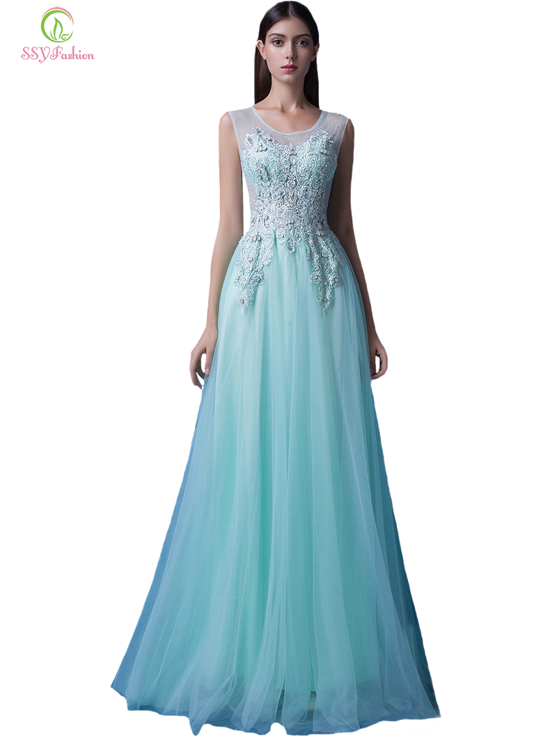 SSYFashion 2017 New   Evening     Dress   Lace Embroidery Sweet Light Green Sleeveless Floor-length Long Prom   Dress   Bride Party Gowns