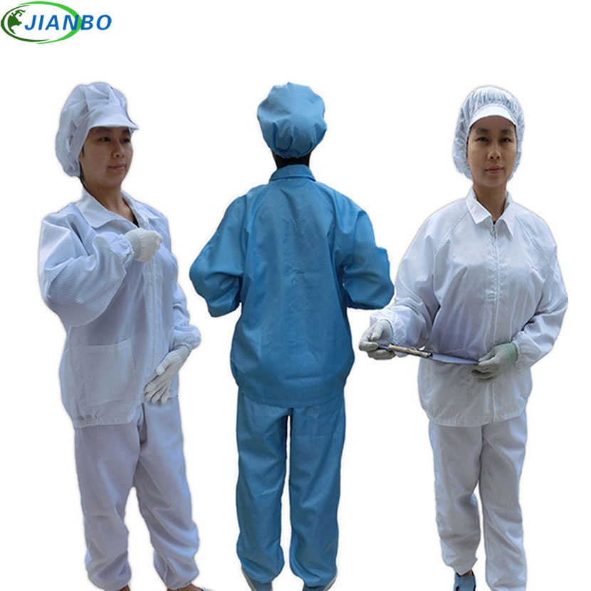 Anti Static Clothes And Cleanroom Clothes Work Clothes Safety Vest Stripe Clothes Color Blue And White Suit Include Work Pants