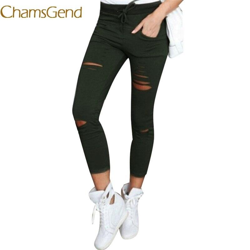 2020 New Slim Pencil Pants 6 color hole  jeans Women Cotton Blend Elastic High Waist Trousers Ladies Vintage Skinny jeans #0612
