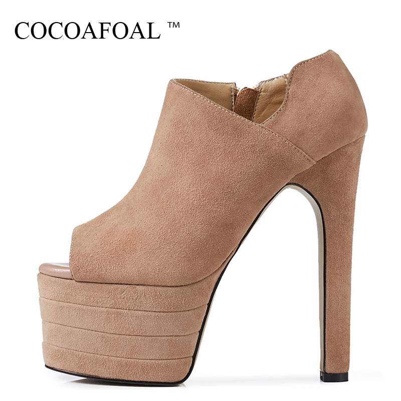 COCOAFOAL Women 16 CM High Heels Peep Toe Sandals Genuine Leather Sexy Heels Shoes Black Apricot Open Toe Platform Sandals 2018 цена 2017