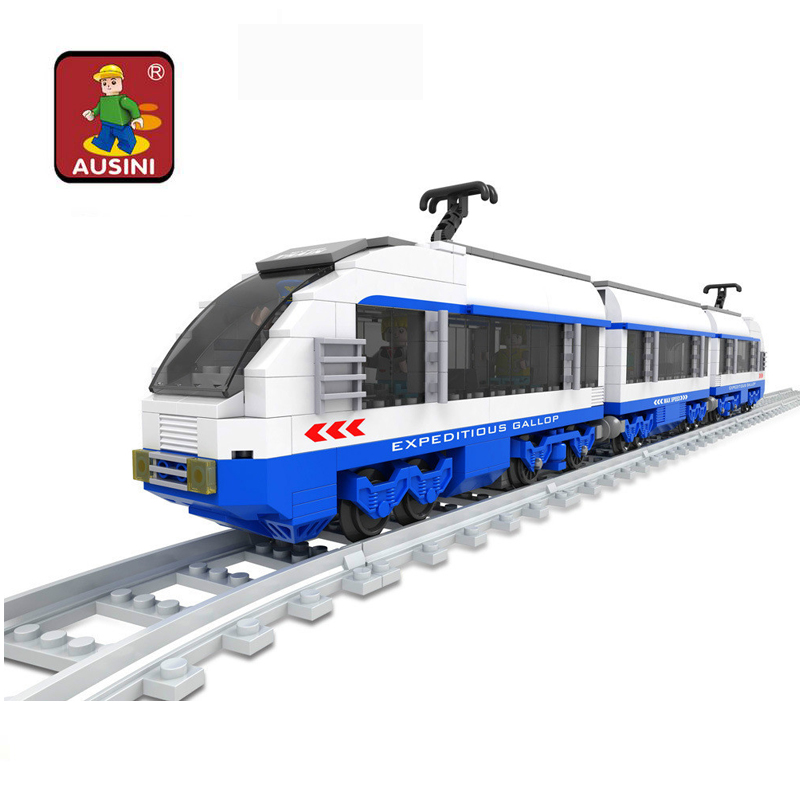 Building Construction Toy Ausini 25903 Train Model Building Blocks Kits City Transportation Train Rails 3D Blocks Toys