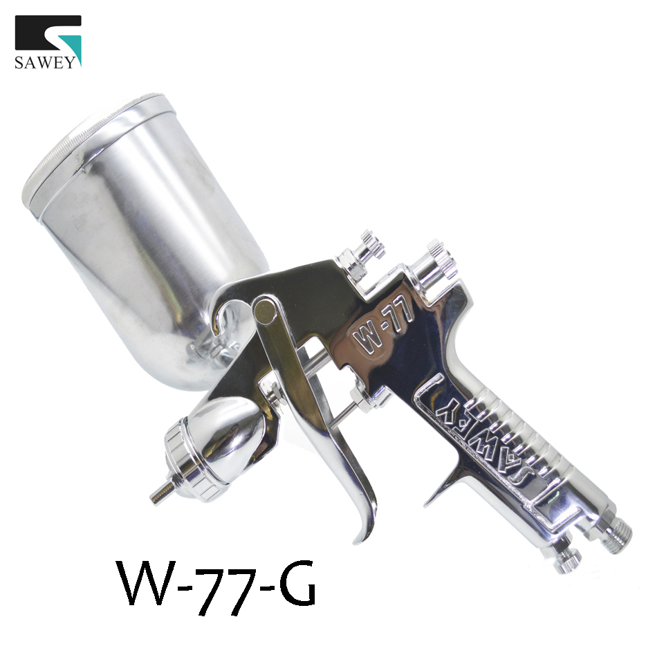 SAWEY High Performance W-77-G HVLP Gravity Feed Spray Gun Silver Nozzle Size,1.5/2.0/2.5/3.0mm,FREE SHIPPING e887g hvlp spray gun set suitable for spraying primer gravity feed with 1 4mm nozzle 600ml pot