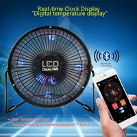 USB Bluetooth APP Texts Clock Temperature Pictures Full Color LED Display Fan 360 Degree Rotation 19.4x19.4x9.2cm