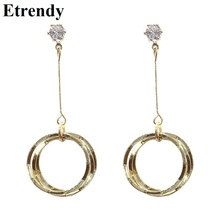 Korean Round Circle Long Earrings For Women Girls Gold Color Simple Earrings 2019 Fashion Jewelry Bijoux Hanging Designer