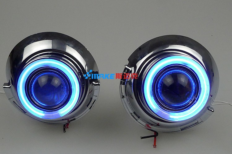 LED DRL daytime running light CCFL angel eye, projector lens fog lamp with cover for peugeot 307, 2 pcs