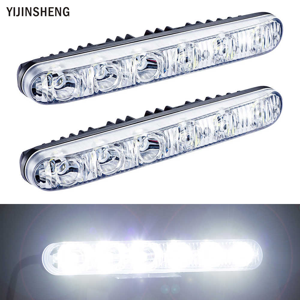 2 PCS 12v 6 LED Daytime Running Light Waterproof Universal DRL Kit Day Light Auto Driving Light External Light