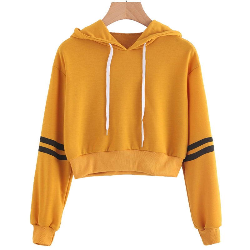 Women Varsity-striped Drawstring Crop Hoodie Sweatshirt Jumper Crop Pullover Tops Dropshipping 2018
