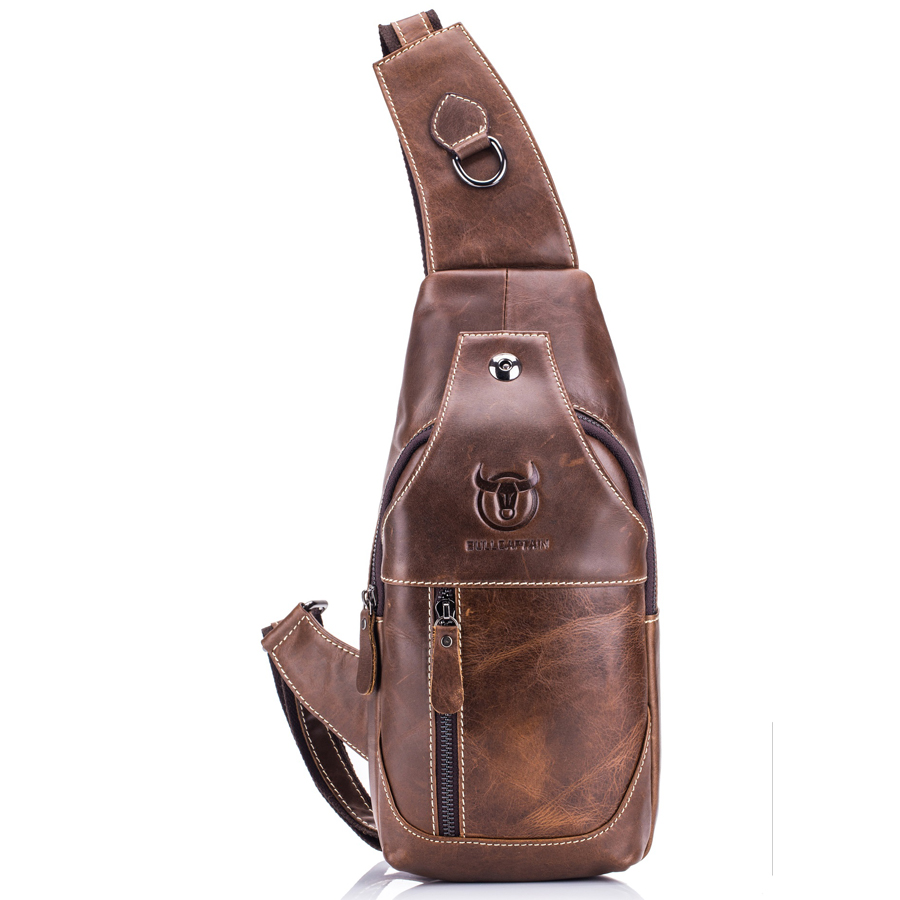 Brand Genuine Leather Causal USB Charge Earphone Slot Chest Pack Sling Bag Men's Cross Body Shoulder Bag Cowhide Messenger Bags