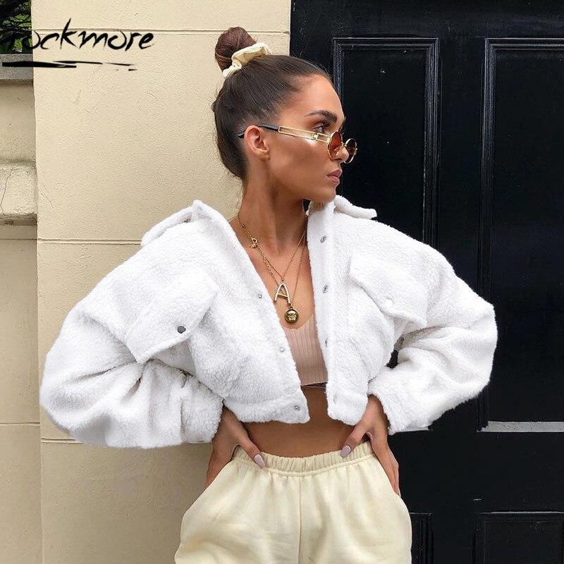 Rockmore White Faux Lamb Hair Winter Coat Women 2018 Fashion Pocket Single Button Plain Au